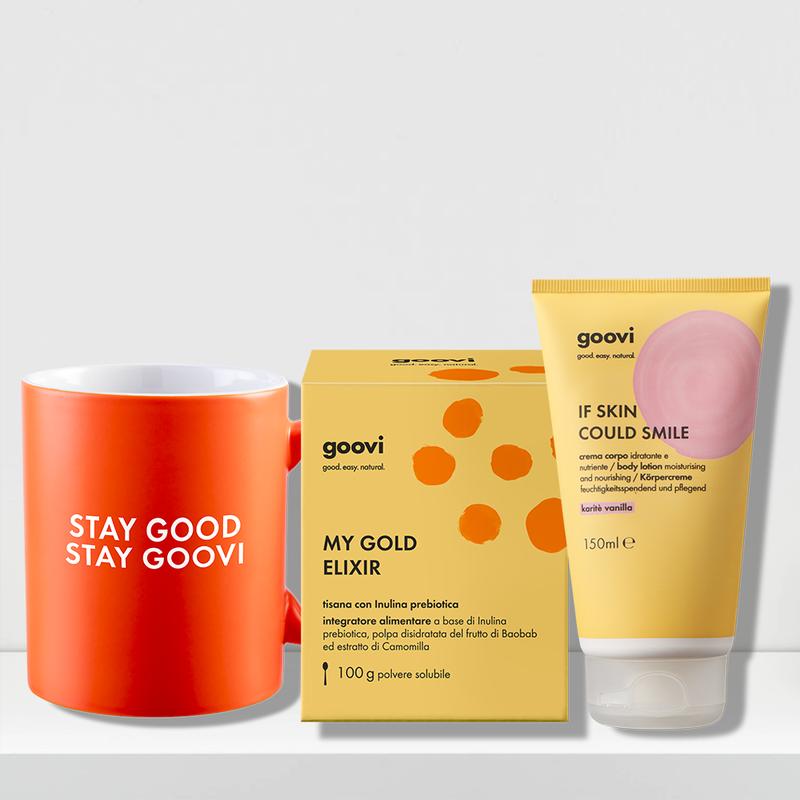 vanilla shea body lotion + prebiotic tea dietary supplement + mug