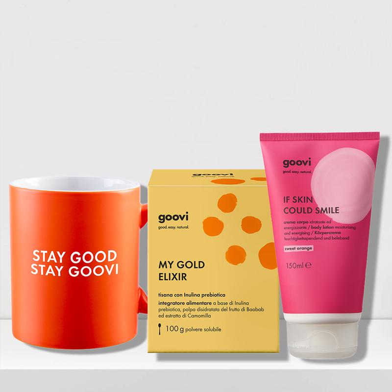 sweet orange body lotion + prebiotic tea dietary supplement + mug