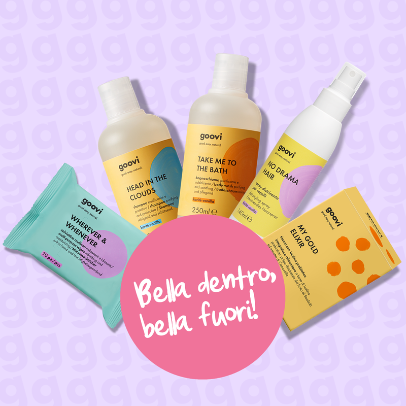 shampoo + bagnoschiuma + spray districante + salviettine multiuso + integratore tisana prebiotica