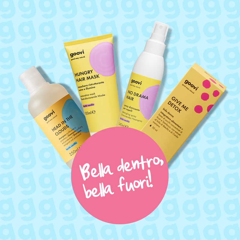 shampoo + maschera ristrutturante + spray districante + integratore linfa donna