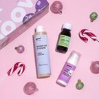 Mizellenwasser + Antismog Gesichtscreme + Nahrungsergänzungsmittel Pflanzliches Gold + Pochette