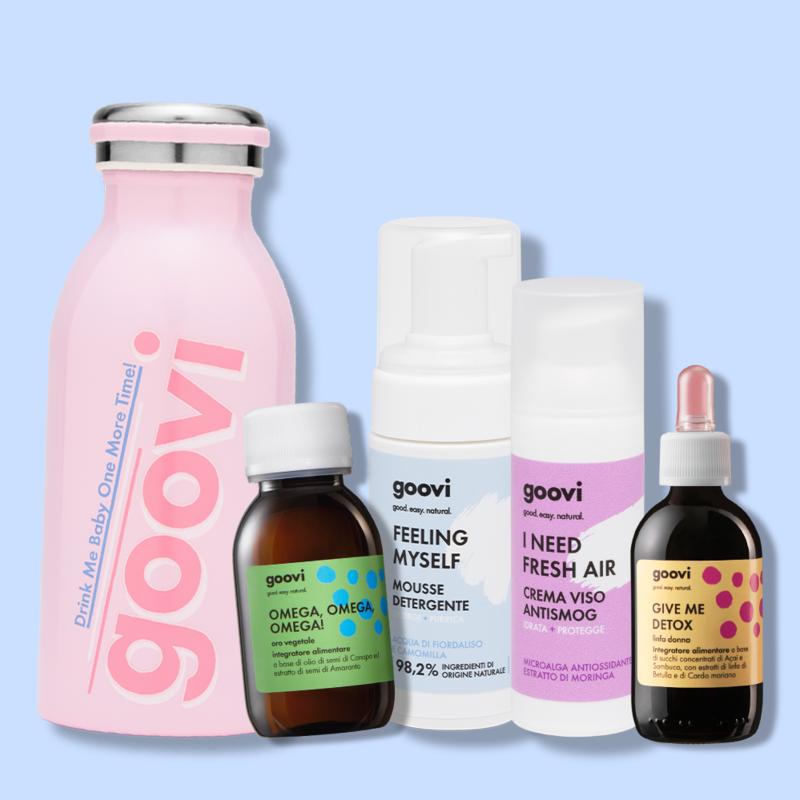 detox + omega + crema antismog + mousse detergente + bottiglia omaggio