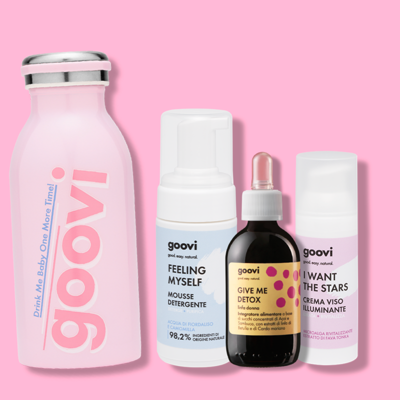 detox + crema illuminante + mousse detergente + bottiglia omaggio