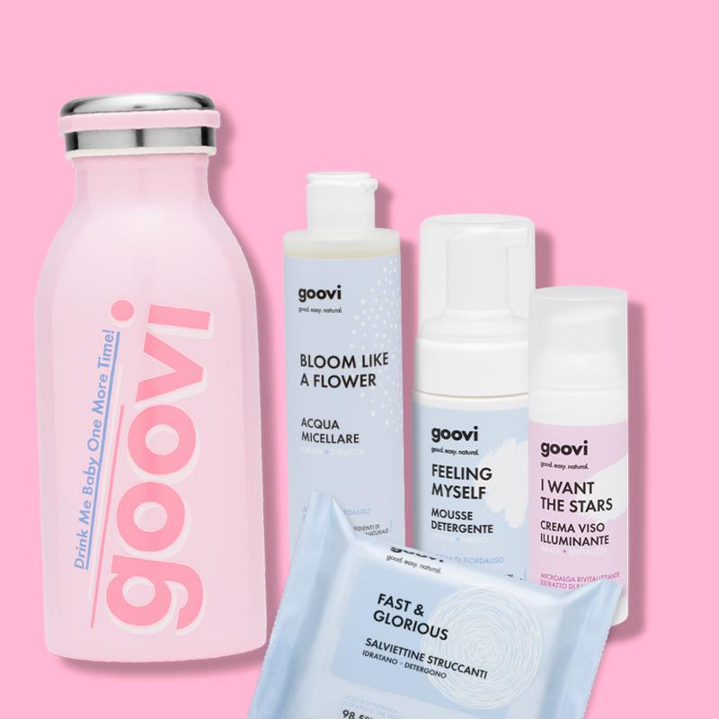 acqua micellare + mousse detergente + salviettine struccanti + crema viso illuminante + bottiglia omaggio