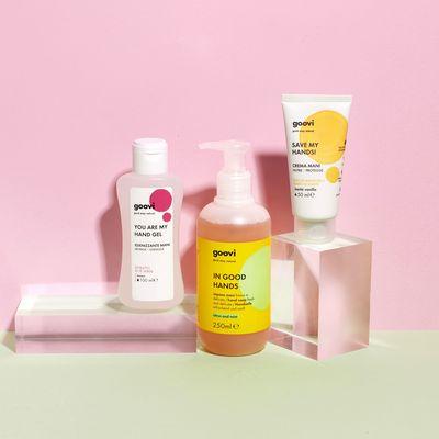 hand soap + hand cream + cleansing hand gel