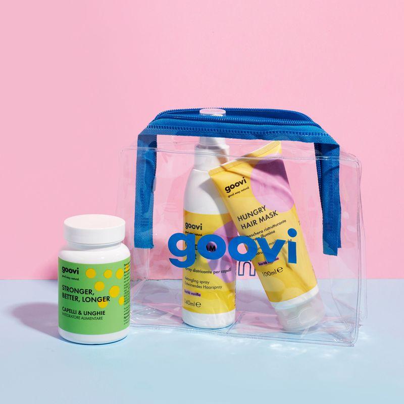 nahrungsergänzungsmittel für haare & nägel + restrukturierende haarmaske + entwirrendes pflege-spray für die haare + Blauer Beautycase als Geschenk