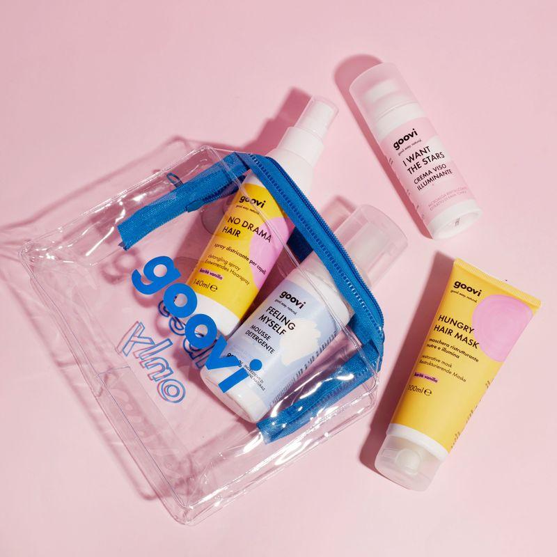 restrukturierende haarmaske + entwirrendes pflege-spray für die haare + reinigungsmousse + hauterfrischende gesichtscreme + Blauer Beautzcase als Geschenk